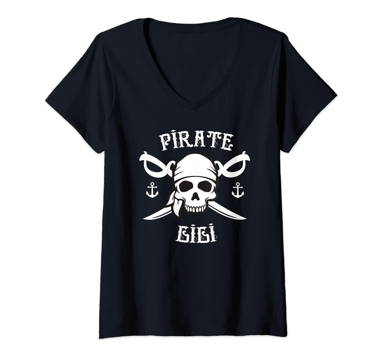 Womens Pirate GiGi - Funny Grandma Halloween Holiday Costume Skull V-Neck T-Shirt
