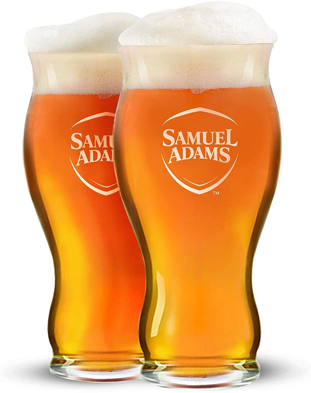 Samuel Adams 22 Ounce Glasses - 2020 White Shield Edition - Set of 2