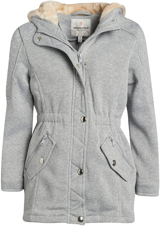 Urban Republic Girls Lightweight Fleece Jacket with Cinched Waist and Sherpa Lined Hood (Little Kids/Big Kids)