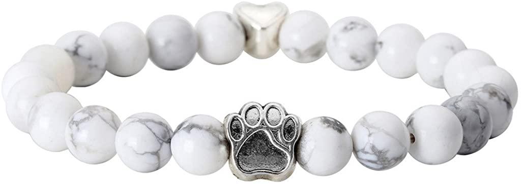 Jovivi Vintage Lava Stone Healing Power Crystal Dog Paw Charm Elastic Stretch Beaded Bracelets