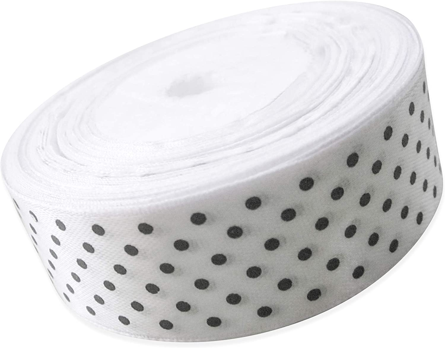 Ribbon 1 inch White with Black Polka Dots Ribbons for Crafts Gift Ribbon Satin Solid Ribbon Roll 1 in x 25 Yards