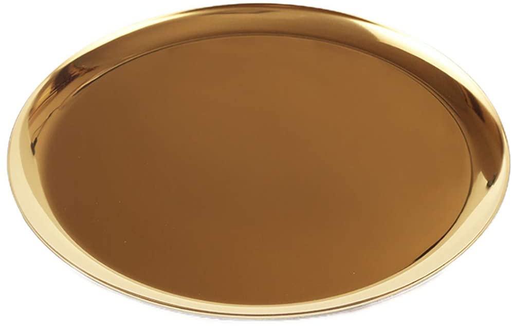 ChezMax Stainless Steel Towel Tray Storage Tray Tea Tray Fruit Trays Cosmetics Jewelry Organizer Gold Oval Tray Decorative Plates 11 inches Round Gold