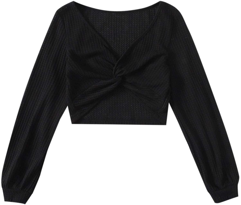 Verdusa Women's Basic Bishop Sleeve Twist Front Waffle Knit Crop Tee Top