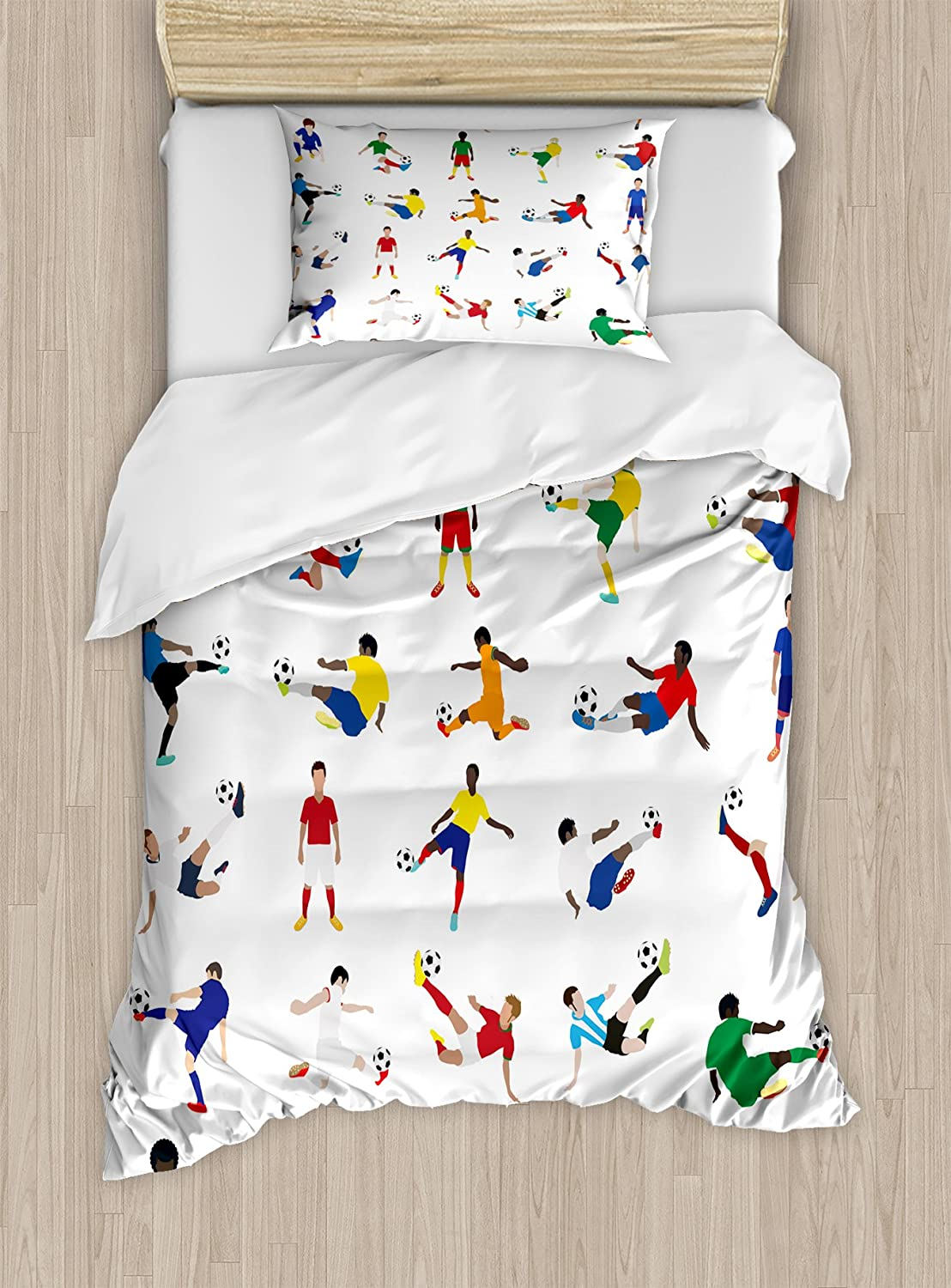Ambesonne Sports Duvet Cover Set, Group of Soccer Players League Pastime Practicing Different Poses Training, Decorative 2 Piece Bedding Set with 1 Pillow Sham, Twin Size, White Multicolor