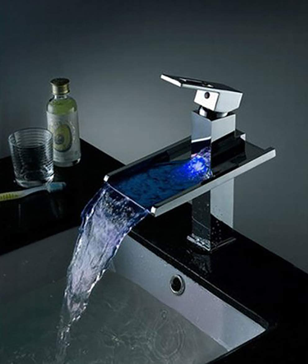 Cascada Modern Stylish Single Handle Color Changing LED Faucet Waterfall Bathroom Automated Temperature Changing 3 Colors RGB (Chrome Finish) (HDD725)