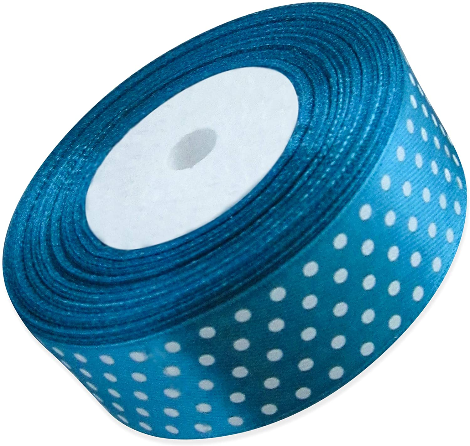 Ribbon 1 inch Azure with White Polka Dots Ribbons for Crafts Gift Ribbon Satin Solid Ribbon Roll 1 in x 25 Yards