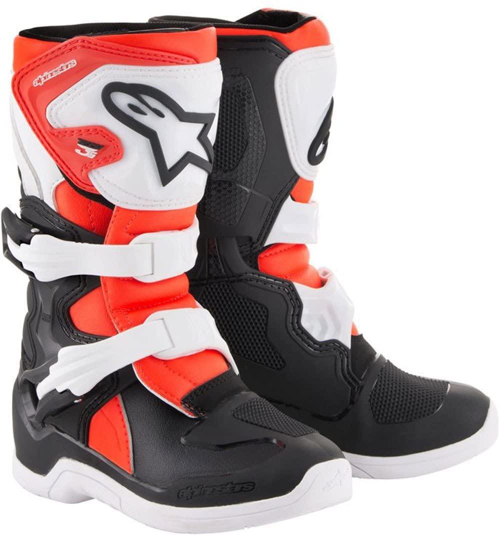 Alpinestars Kids Tech 3S Motocross Boot, Black/White/Red, 11