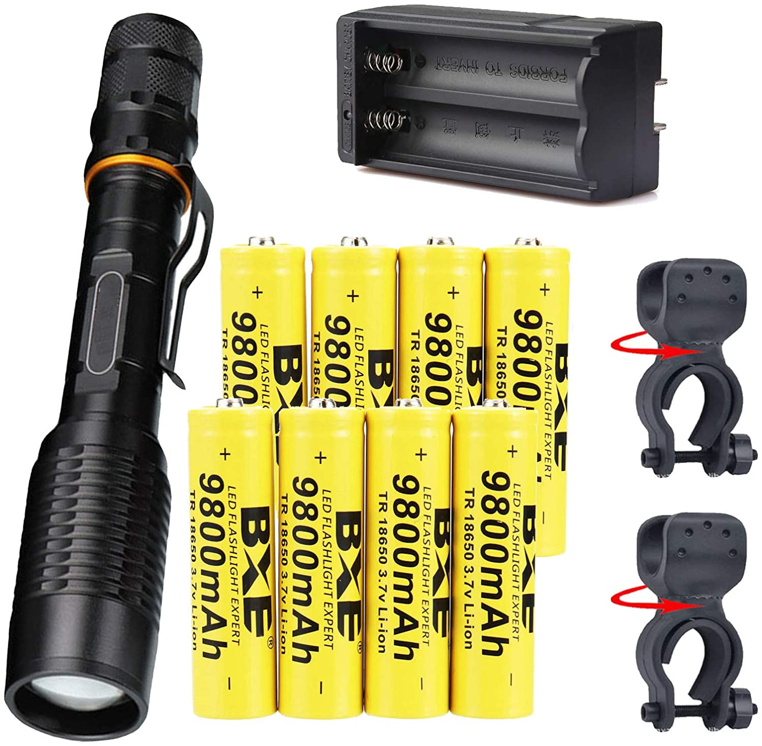 5000 Lumen Rechargeable Tactical Flashlight,Super Bright Zoomable LED Flashlgiht for Hiking Hunting Camping Emergency Outdoor Sport