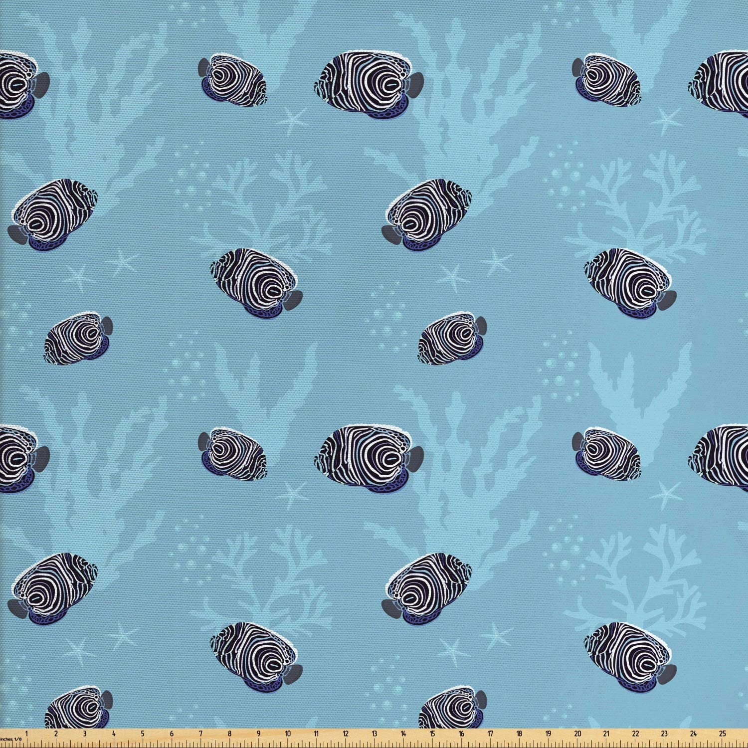 Ambesonne Nautical Fabric by The Yard, Marine Theme Exotic Fish Patterns with Starfishes and Seaweeds, Decorative Fabric for Upholstery and Home Accents, 1 Yard, Pale Teal Pale Sky Blue