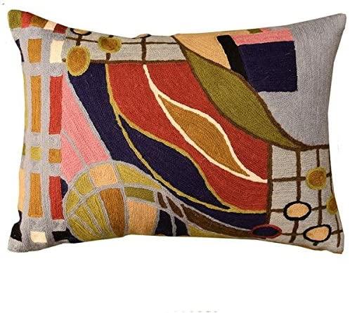 Kashmir Designs Lumbar Hundertwasser Pillow Cover Biomorph II Rectangle Wool Hand Embroidered 14