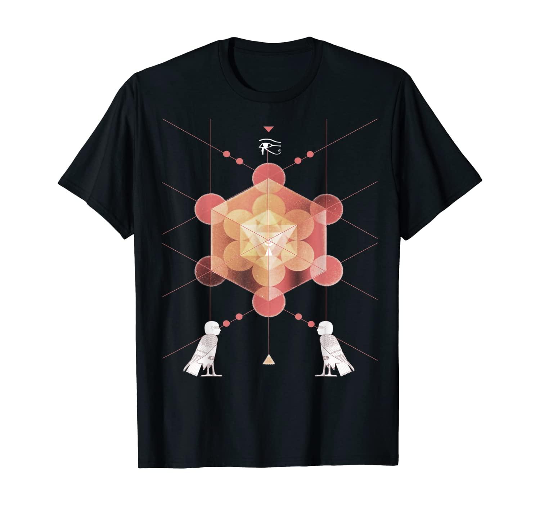 Sacred Geometry Metronome's Cube Platonic Solid Square T-Shirt