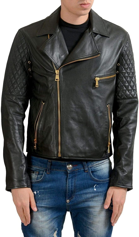 Versace Versus Men's Leather Zip Up Jacket Size US S IT 48