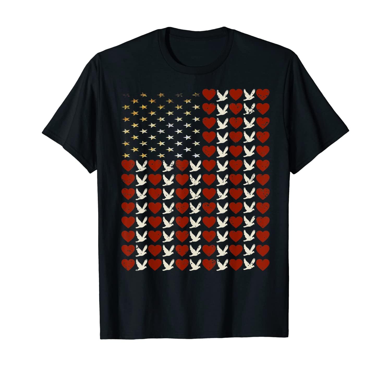 Retro USA flag Peace Love Hearts Pigeons Men Women Kids Gift T-Shirt