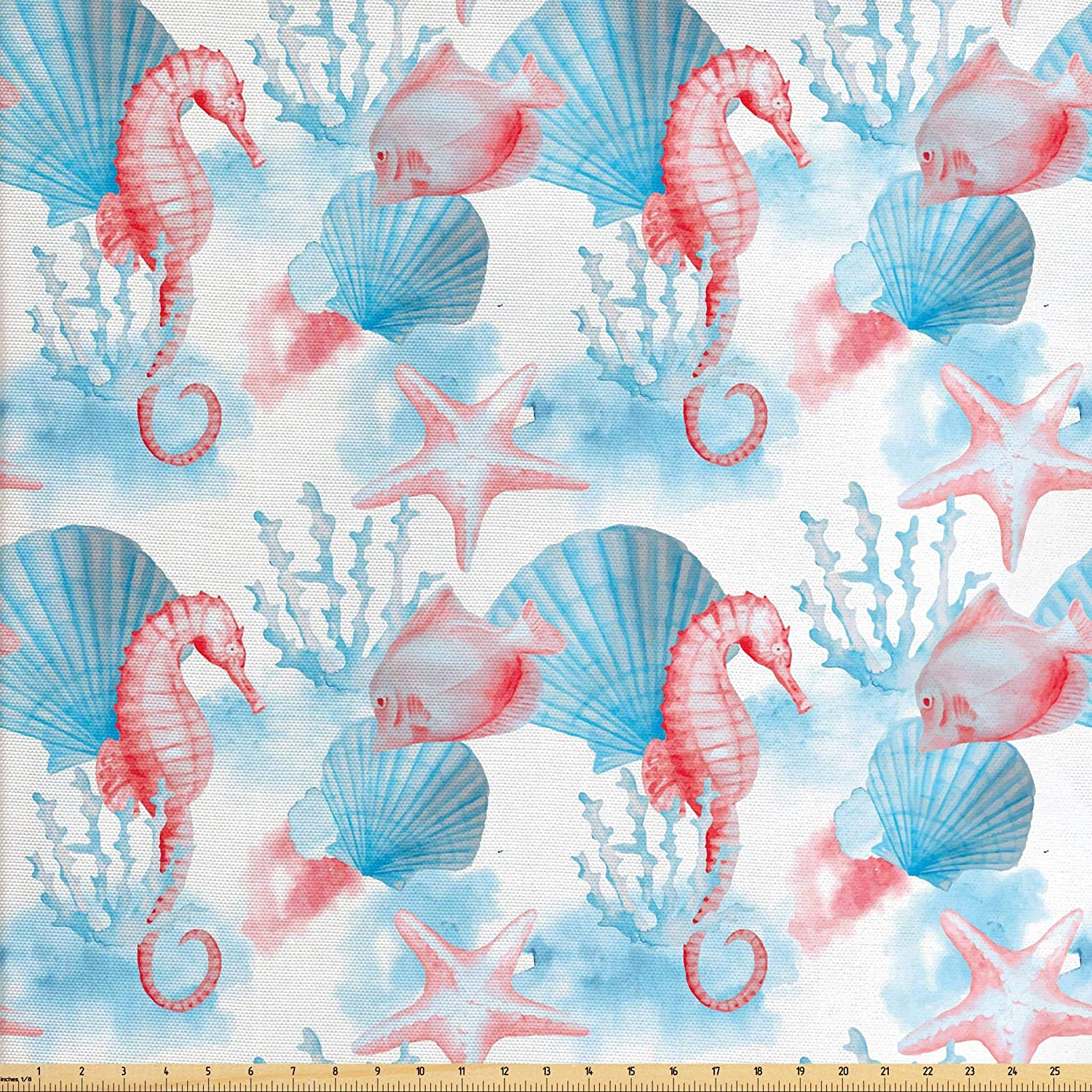 Lunarable Nautical Fabric by The Yard, Shells Sea Horse Corals Fish Sandy Beach Exotic Watercolor Effect, Decorative Fabric for Upholstery and Home Accents, 3 Yards, White Coral