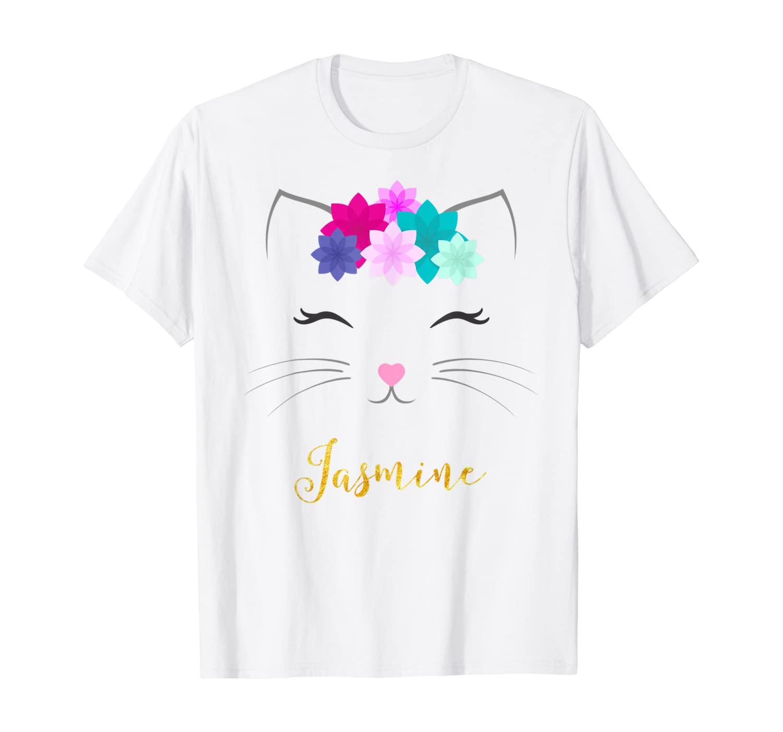 Jasmine Name Gift Personalized Kitty Cat T-Shirt
