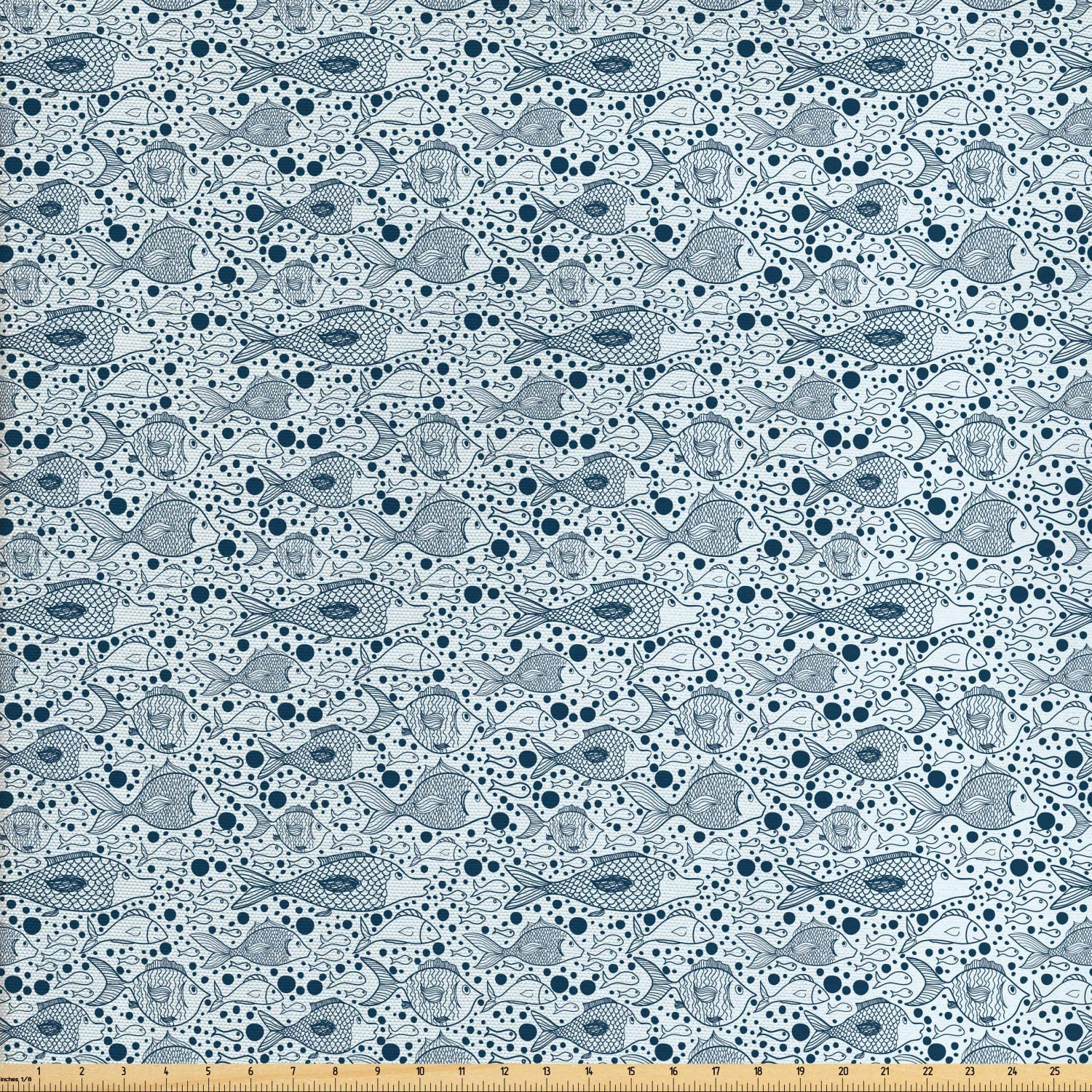 Ambesonne Blue Fabric by The Yard, Fish with Bubbles Underwater Wild Sea Life Funky Art Style Illustration Image, Decorative Fabric for Upholstery and Home Accents, 1 Yard, Blue