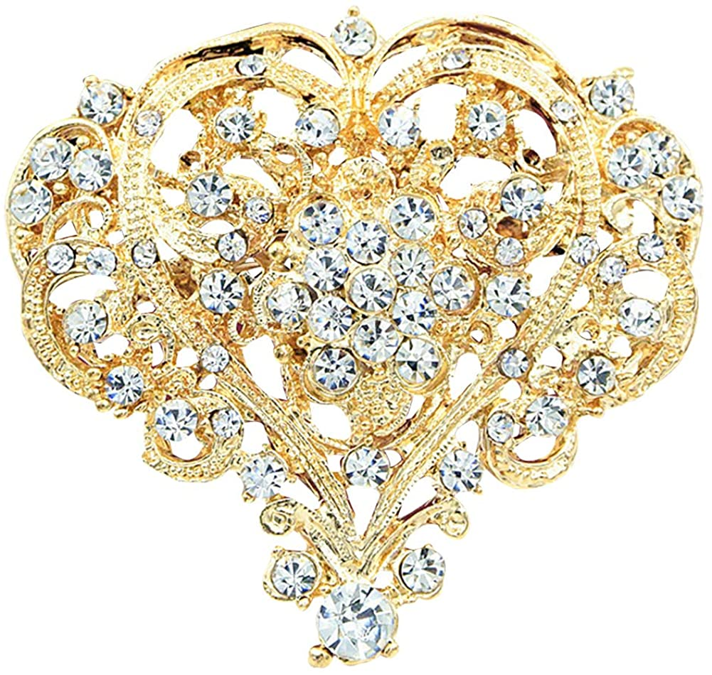 Brooch Pins for Women, Fashion Hollow Rhinestone Inlaid Heart Brooch Pin Wedding Party Jewelry - Golden