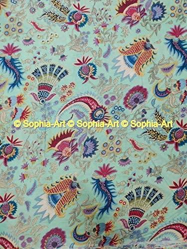 Voile Cotton Printed Sanganer Beautiful Jaipuri Floral Kurti Sewing Indian Craft Ethnic Dressmaking Gypsy Fabric by The Yard (Mint Green, 03 Yard)