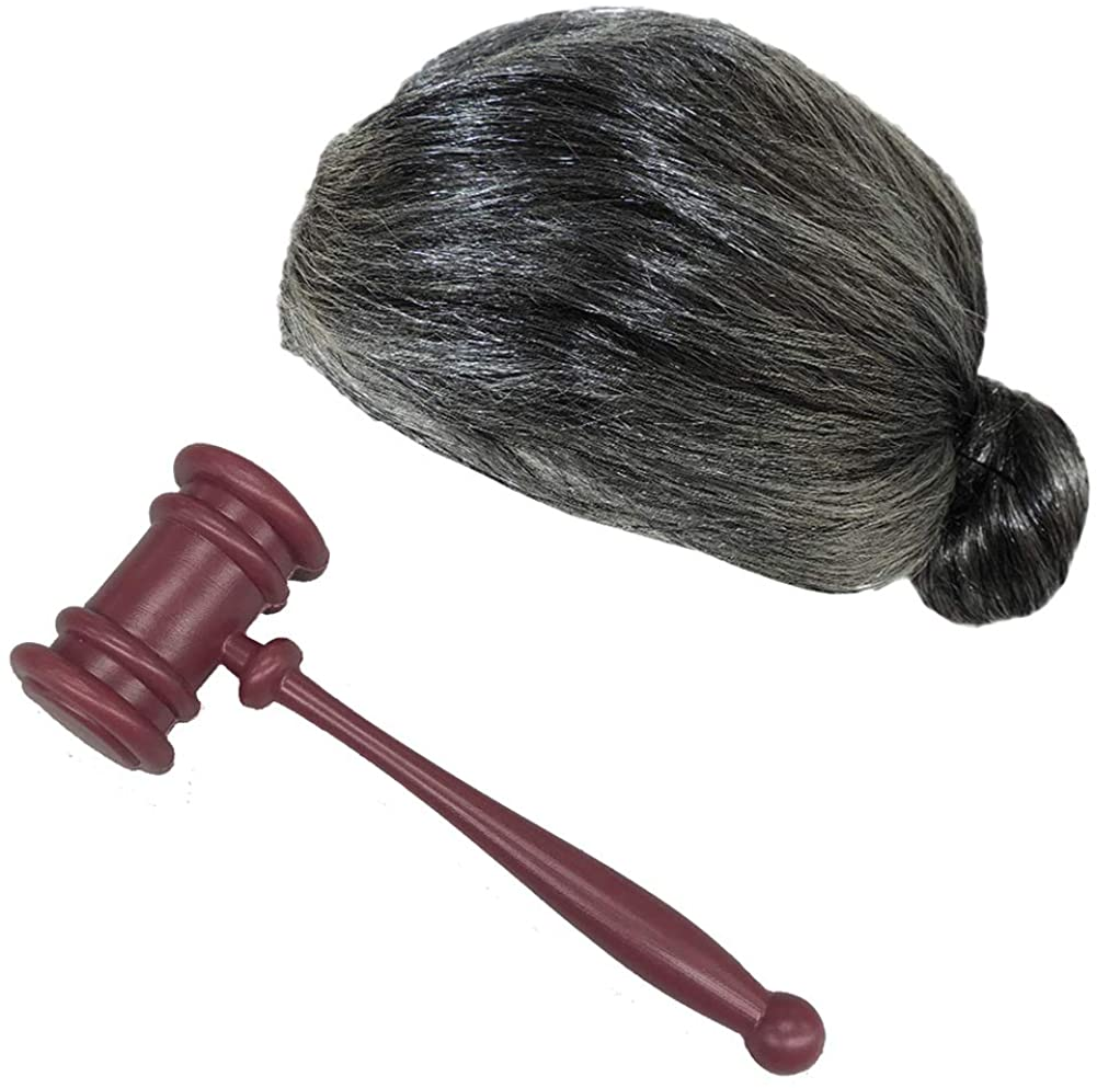 Judge's Law Gavel with Grey Hair Bun Wig Costume Set