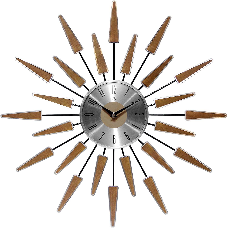Infinity Instruments Wall Clock 24 inch Satellite Starburst Clock Midcentury Modern Wall Clock Satellite Wall Clock Home Decor Sunburst Mid Century