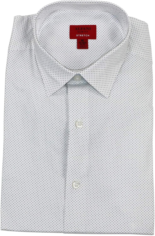 Alfani Pindot Slim Stretch Fit Long Sleeve Button Down Shirt