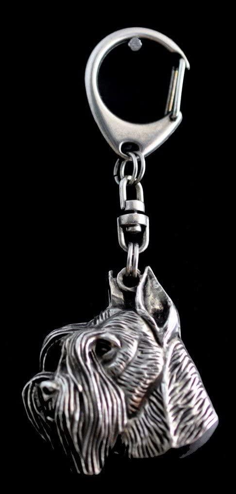 Schnauzer (With Parting), Silver Hallmark 925, Silver Dog Keyring, Keychain, Limited Edition, Artdog