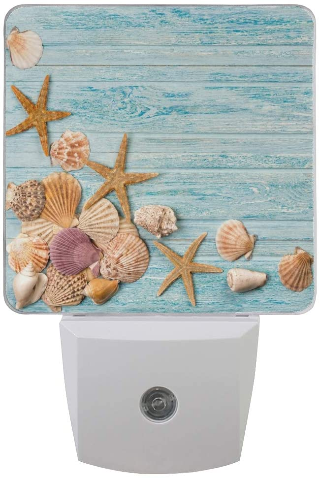 Naanle Set of 2 Ocean Beach Seashell Starfish Scallop Shell On Blue Wooden Summer Sea Life Auto Sensor LED Dusk to Dawn Night Light Plug in Indoor for Adults