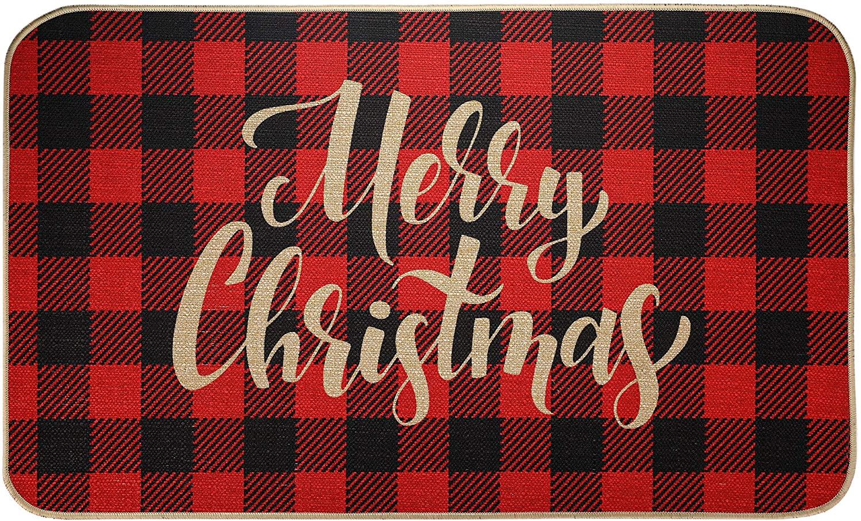 EasyAcc Christmas Decoration Outdoor Indoor Doormat for Entryway, 30 x 17 inches Entrance Welcome Door Mat Non Slip Washable Front Door Mats Stripes Rug - Red and Black