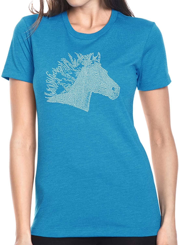 LA Pop Art Women's Premium Blend Word Art T-Shirt - Horse Mane