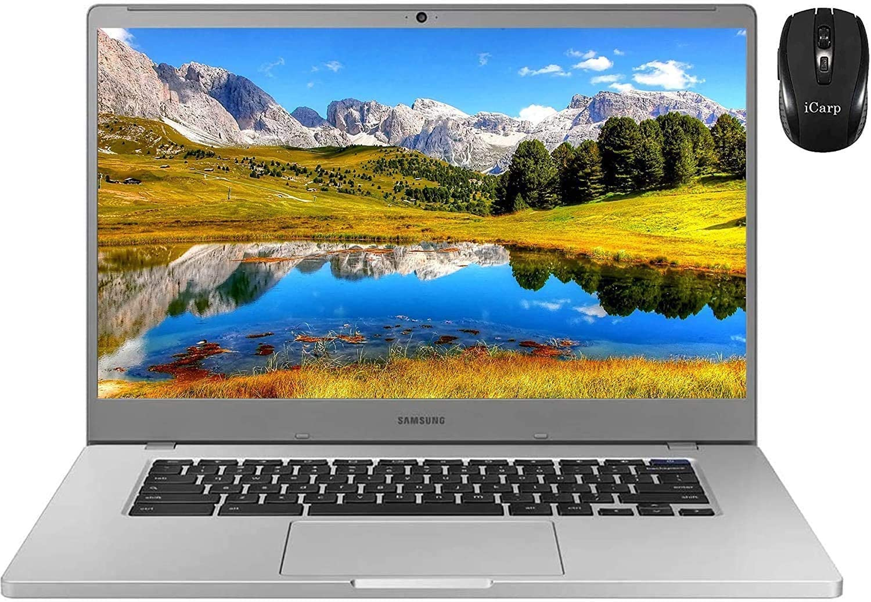 Flagship Samsung 4+ Chromebook 15 LaptopComputer 15.6FHD WLED Display Intel Celeron Processor N4000 4GB RAM 128GB eMMC USB-C WiFi WebcamChrome OS + iCarp Wireless Mouse