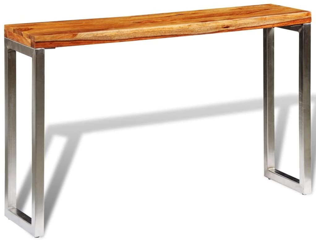 INLIFE Solid Sheesham Wood Console Table with Steel Leg