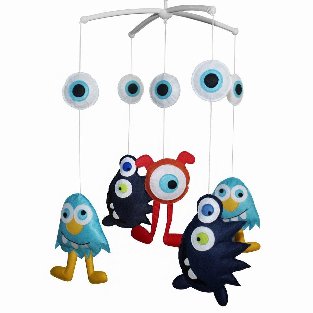 Crib Mobile Bell Musical Toy Baby Room Decor, Alien Type