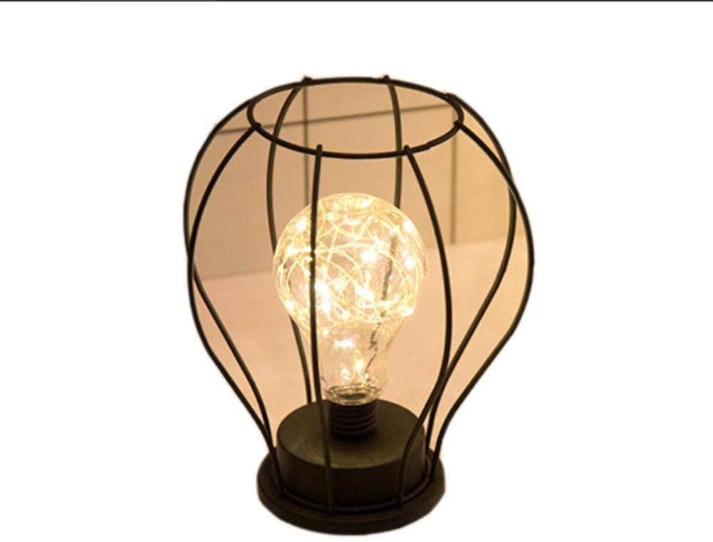 LIUHUA Vintage Desk Lamp Metal Shade Edison Bulb Night Light, Battery Powered Lamp Bedroom Wedding Christmas Home Decor (D)