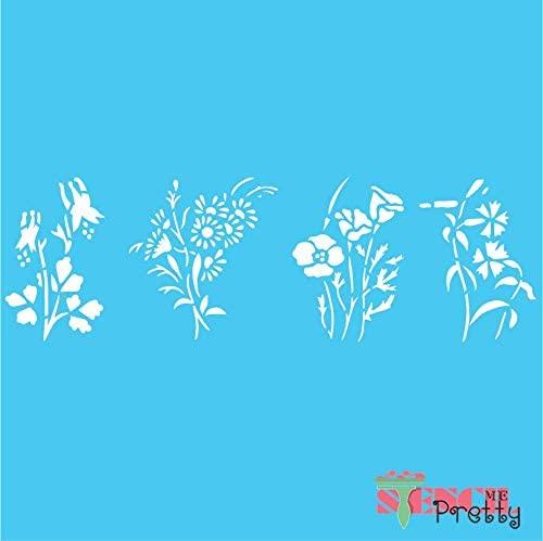 Stencil - Flowers Stencil - Columbine Magnolia Daisy Petunia DIY Crafting Best Vinyl Large Stencils for Painting on Wood, Canvas, Wall, etc.-Massive (33