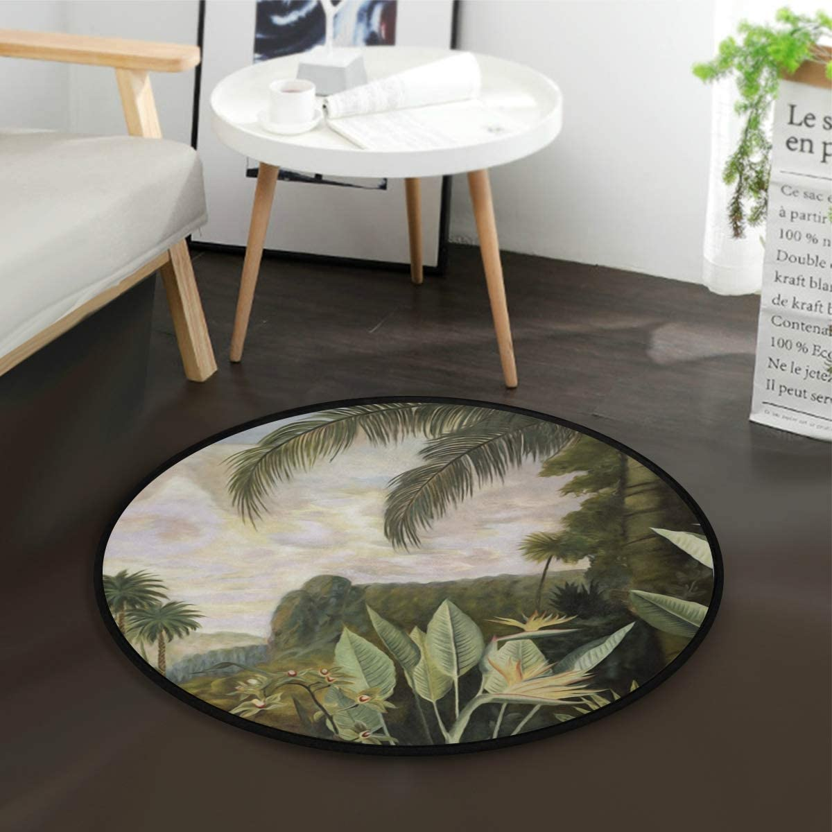 Art Tropical Plants Round Rug 3.6 X 3.6 ft for Bedroom Small Area Rug Circular RugsRoom Decor Washable