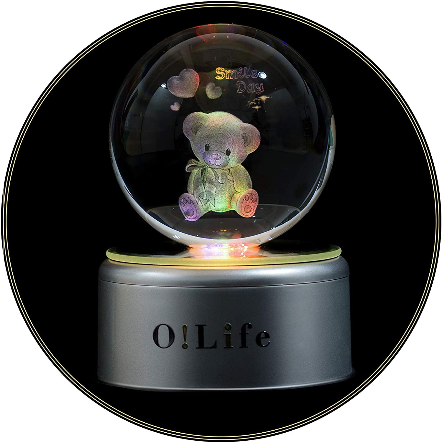 O!Life 3D Crystal Ball (3.15 Inches) with Upgraded Music Box LED Night Light, 18 World Famous Piano Music, Luminous Rotating LED Projection, Room Decoration, Great Gifts for Various Scenes & Holidays