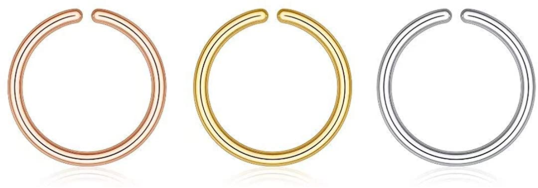 Memorjew Nose Rings for Women, 925 Sterling Silver 20G 18G 16G Septum Ring Helix Earrings Cuffs Cartilage Earring Hoop Conch Body Piercing Jewelry 6mm-10mm Diameter, Gold, Rose Gold, Silver