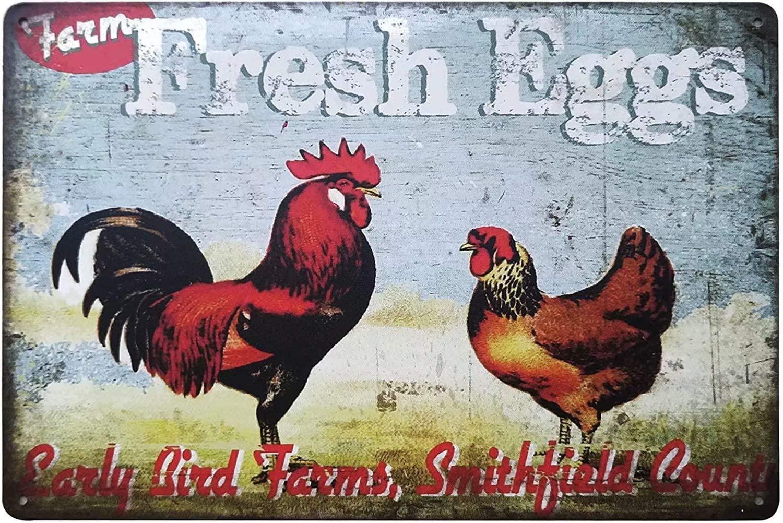 Tin Sign Farmhouse Decoration Chicken Duck Art Metal Wall Decoration