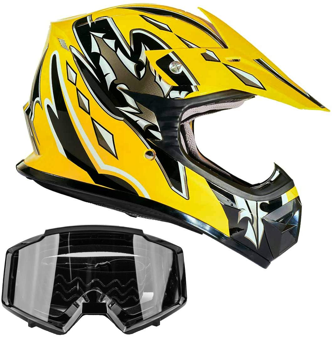Typhoon Youth Off Road Helmet & Goggles DOT Motocross ATV Dirt Bike MX Motorcycle Yellow Black, S Small