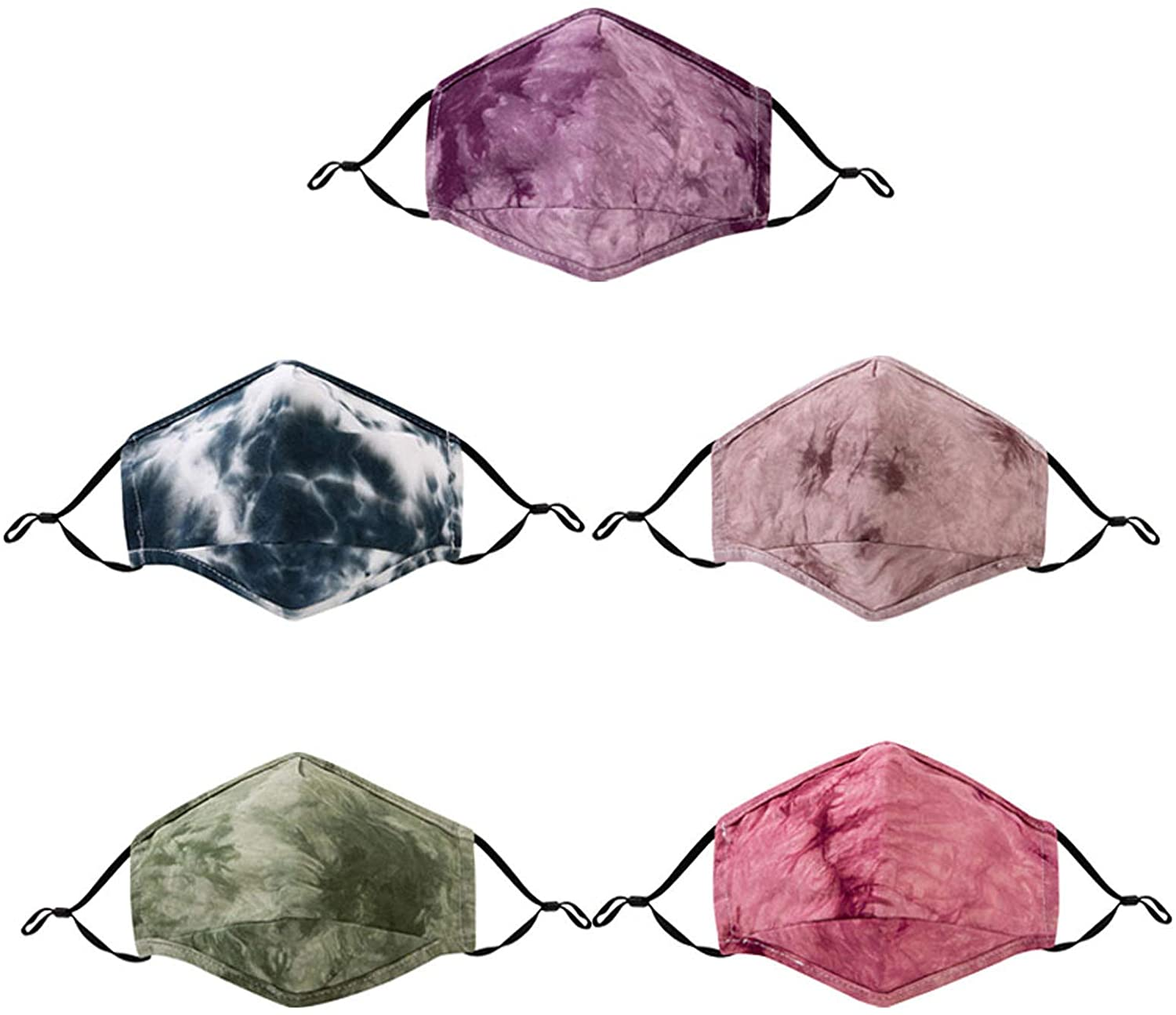 5pcs Beauty Tie Dye Fashion Adult Reuse Face_mask Face Coverings Reusable with Filter Pocket, Washable Cotton Cloth Dust Protective with Adjustable Ear Loops for Men Women Sports, Breathable