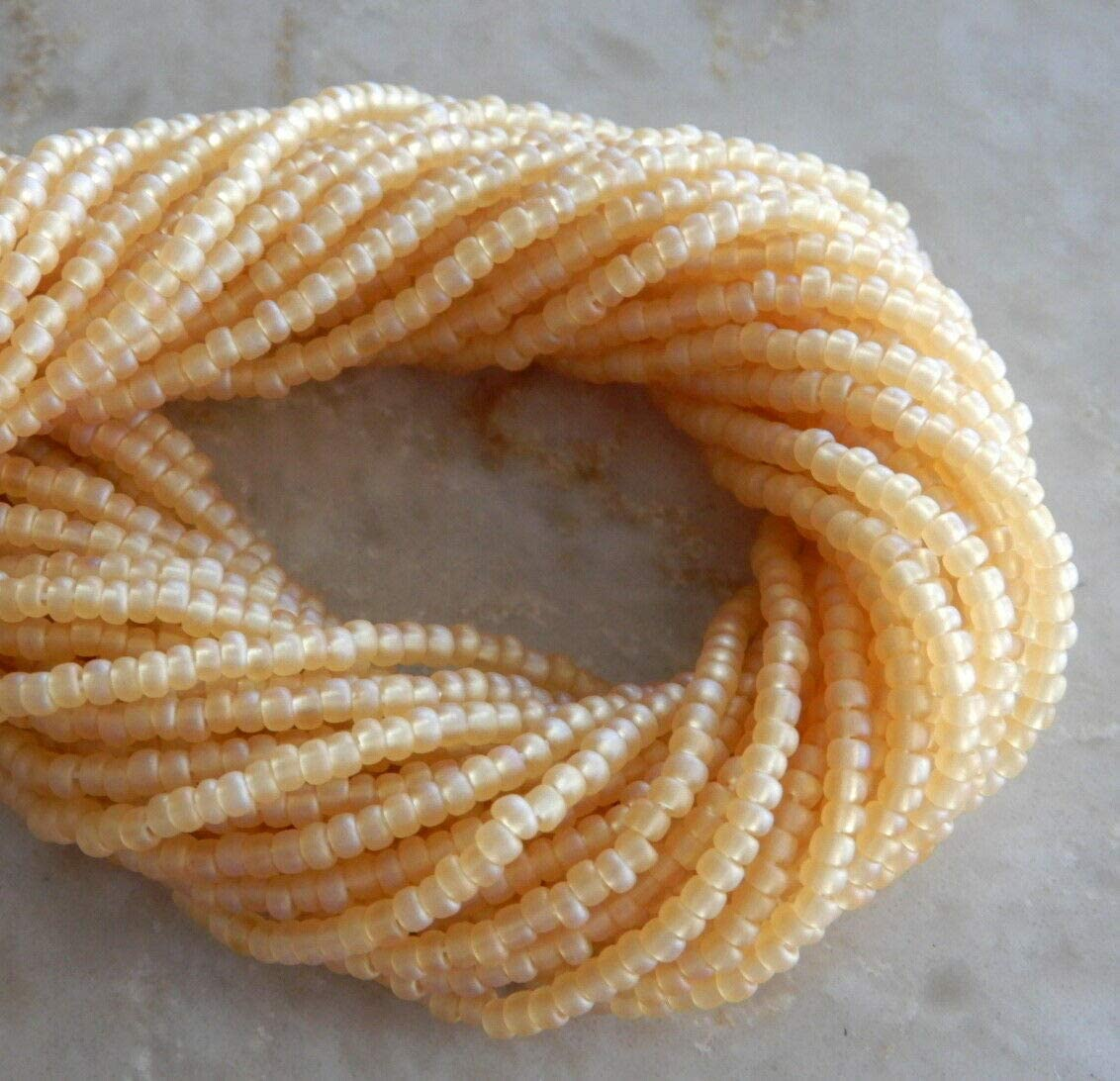 Beads - Jewelry Making - Beading - DIY Crafting 4000 Light Topaz AB Frost Glass 11/0 2.1mm Seed Bulk Hank Yellow