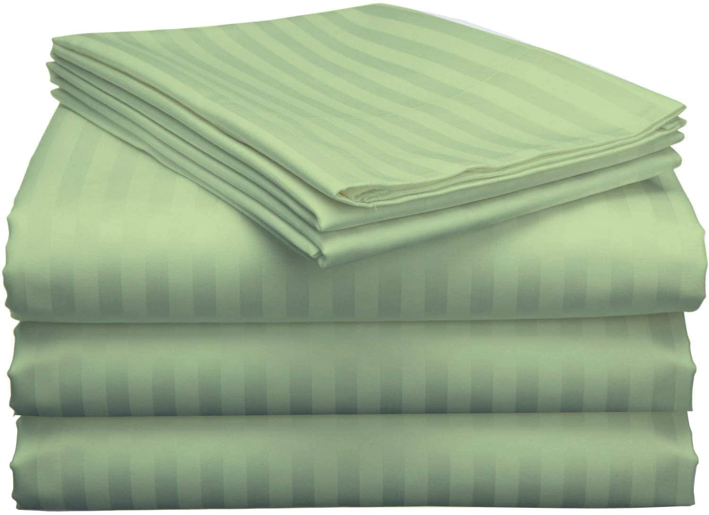 Split King Bed Sheets 5 Pieces 400 Thread Count 100% Egyptian Cotton Sheets for Split King Adjustable Bed 16 Inch Deep Pocket Split King Sheets Sets for Adjustable Beds Sage Stripe