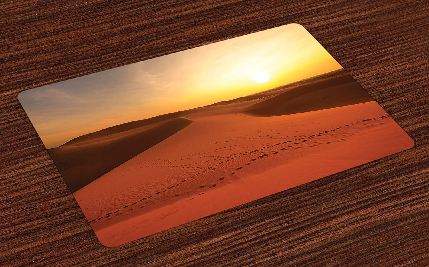 Ambesonne Desert Place Mats Set of 4, Footprints on Sand Dunes at Sunrise Hot Dubai Landscape Travel Destination, Washable Fabric Placemats for Dining Room Kitchen Table Decor, Dark Orange Yellow