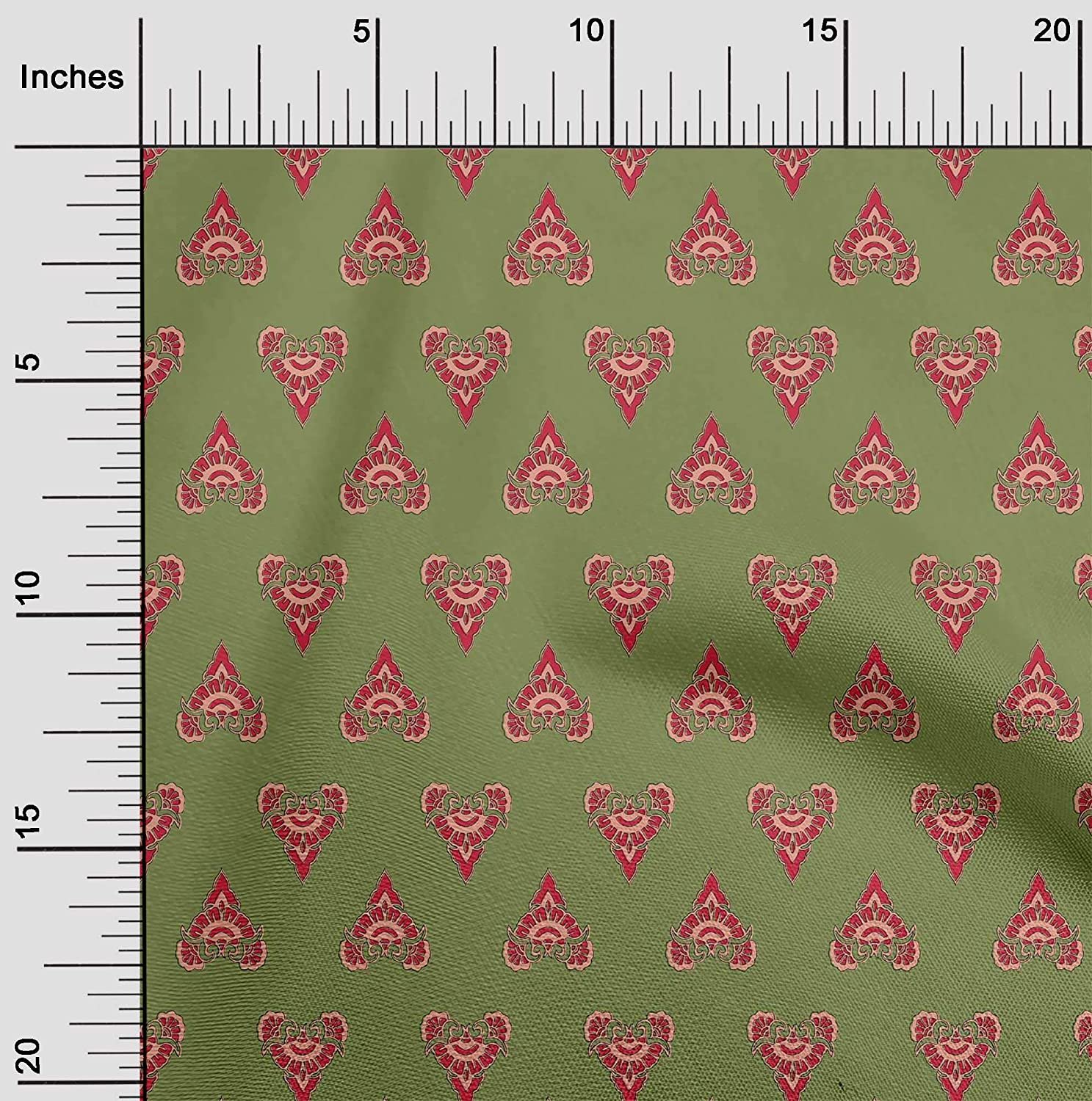 oneOone Organic Cotton Voile Fabric Floral Block Print Fabric by The Yard 42 Inch Wide