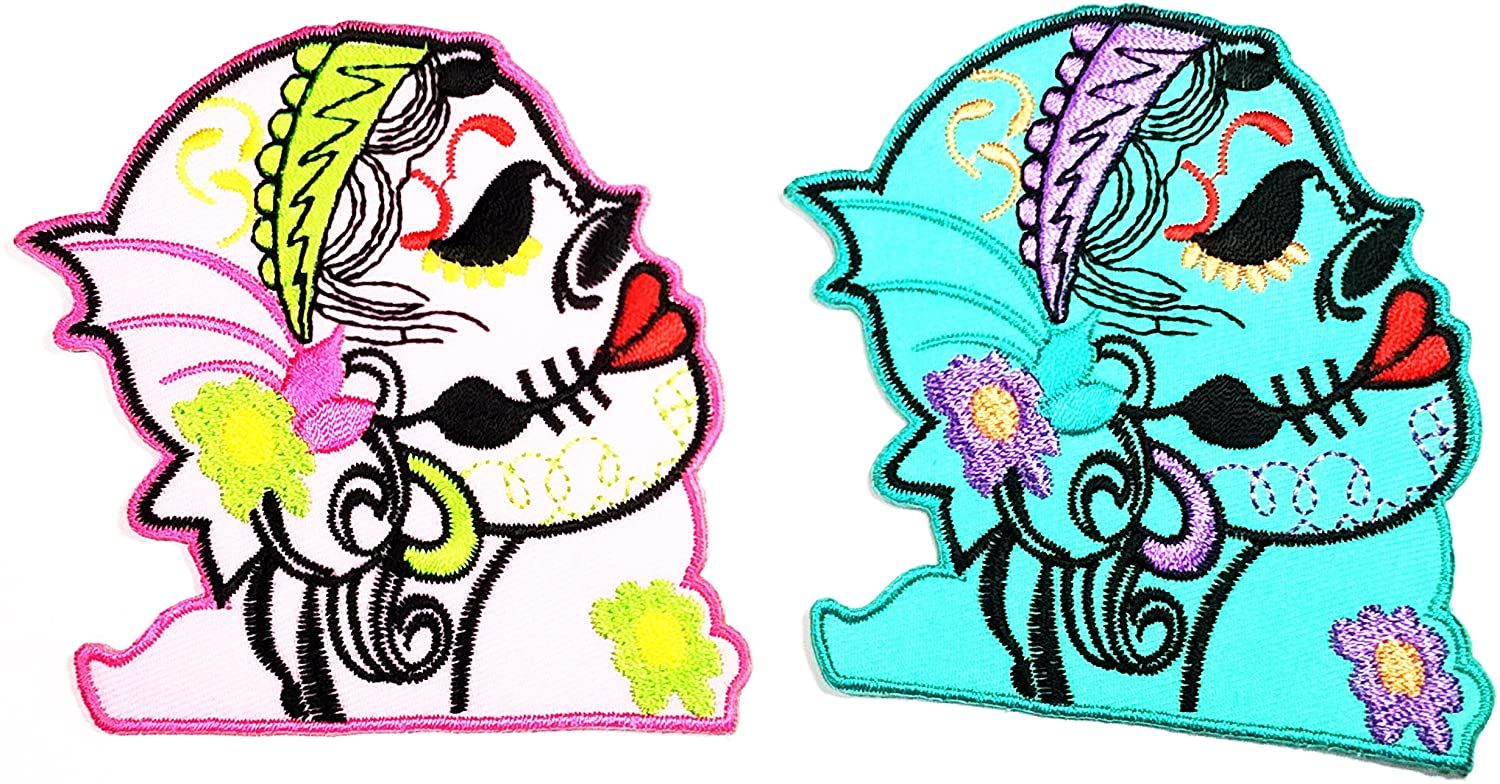 HHO Set 2 Pcs Blue Pink Sugar Skull Design Motorcycle Biker Embroidered Iron on Patch Iron on patch Sign Badge Symbol Patch Iron on Applique Embroidered Jacket T shirt Costume