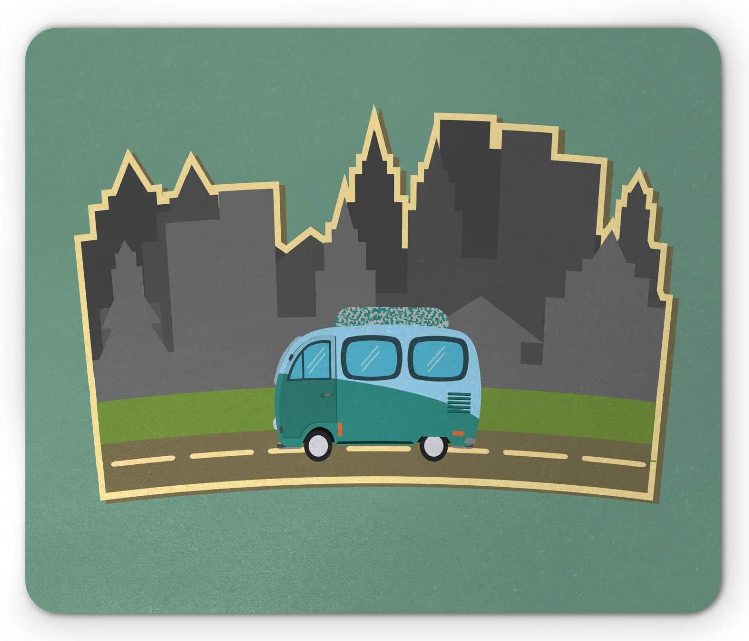 Lunarable Adventure Mouse Pad, Adventure Driving Along The City Buildings Silhouette Illustration, Rectangle Non-Slip Rubber Mousepad, Standard Size, Laurel Green Multicolor