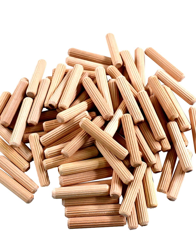 5/16 x 2 Wooden Dowel Pins - Fluted Wood Dowel Pins - Fluted Wooden Dowel Pins Fluted Dowel Pins - Wood Dowel Pins for Furniture - Straight Fluted Wooden Dowel Pins (250)