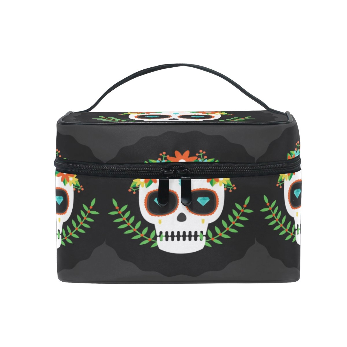 Makeup Bag Skull Flower Travel Cosmetic Bags Organizer Train Case Toiletry Make Up Pouch