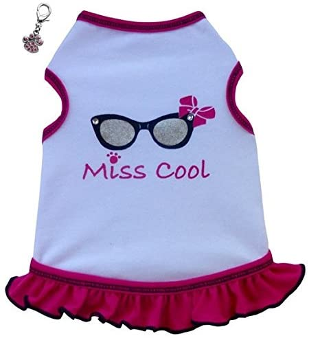 I See Spot Cool Sunglasses Themed Dog's Tank Top or Dress with Clip Charm – Choice of Mr. Cool or Miss Cool – in Dog Sizes XS Thru L
