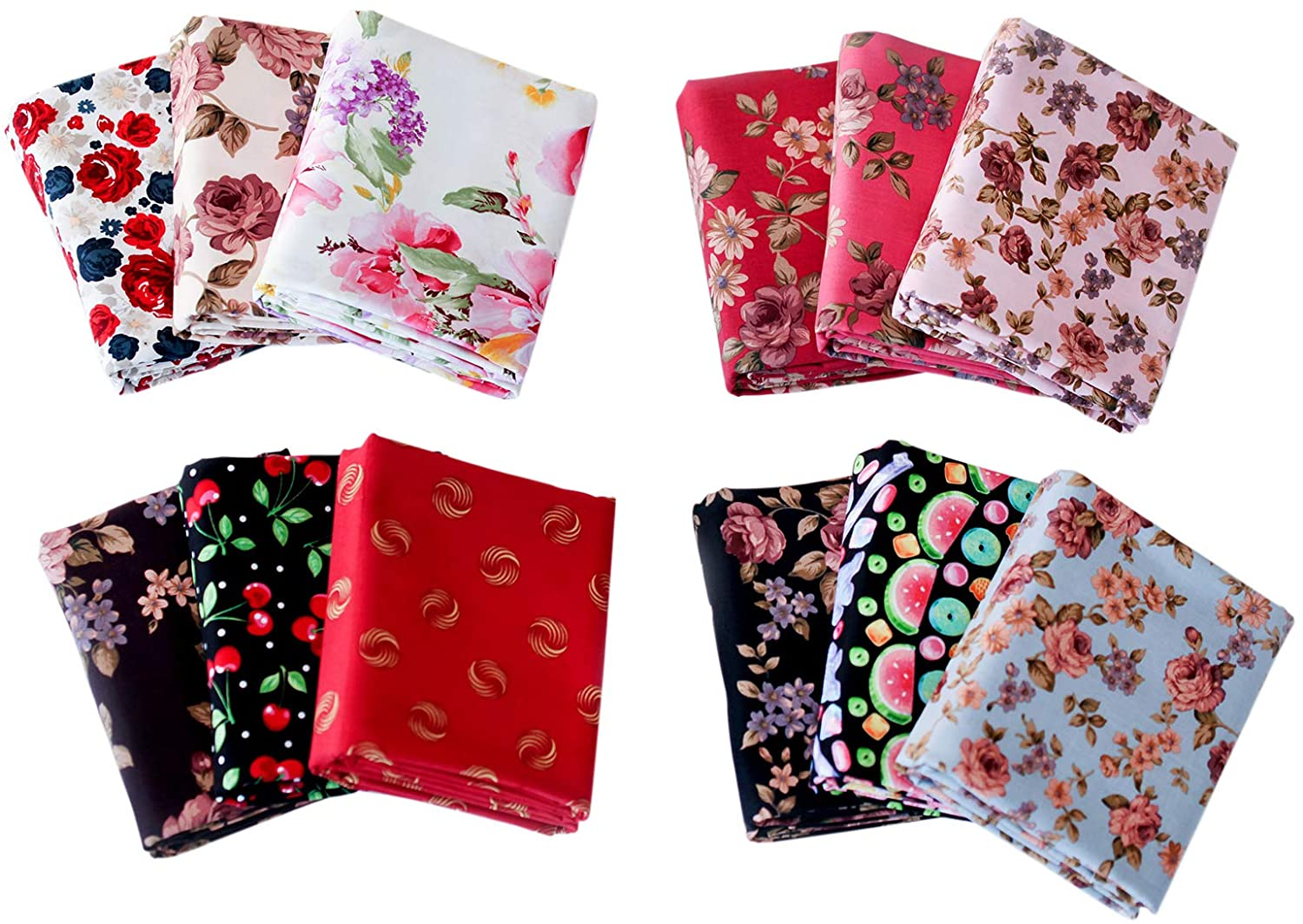 12 Pcs Cotton Craft Fabric Bundle Quilting Fabric with Different Patterns Fabric Patchwork Craft Cotton Quilting Fabric for Sewing Quilting Patchwork Craft Scrapbooking